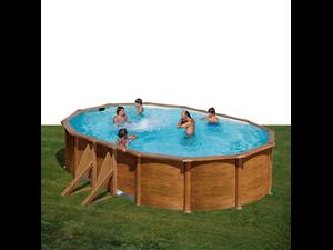 Ovalada 500 x 300 x 120 cm kit500w con postes for Liner piscine transparent